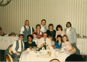 group picture of family members at a wedding