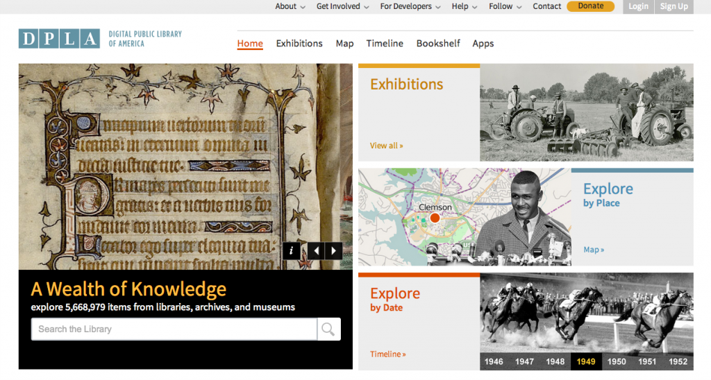 screen-capture image of DPLA front page