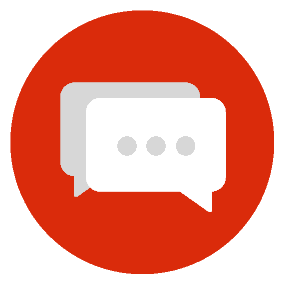 Image of square speech bubbles that signify the What's Your Normal? web article series. Speech bubbles are set in a round, red field.