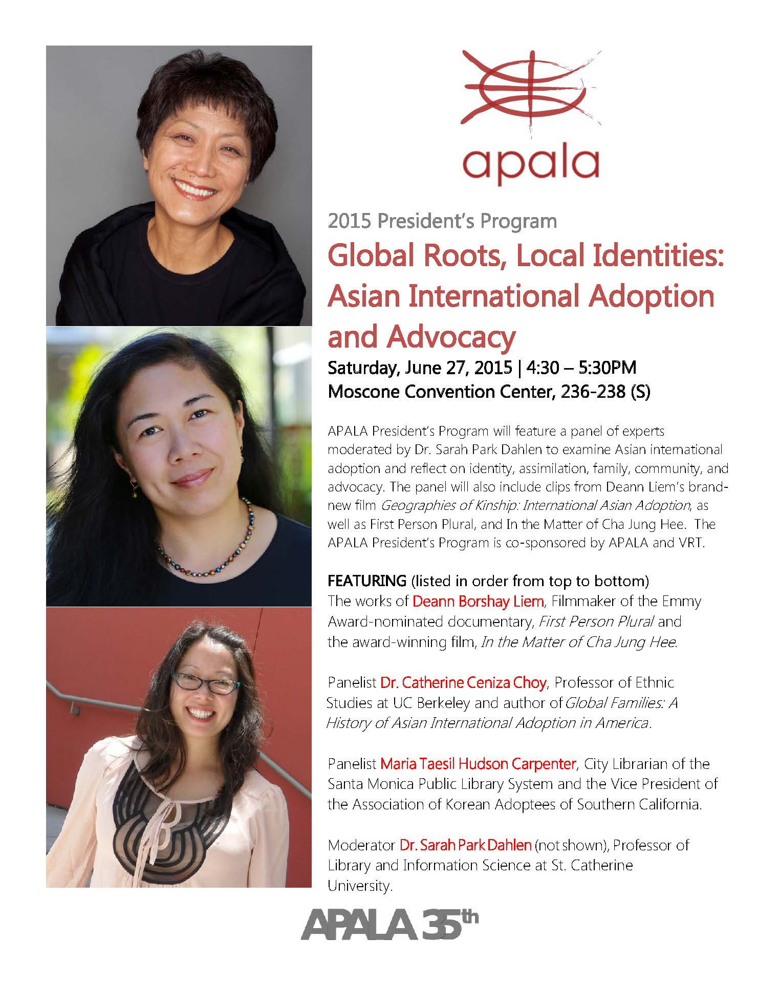 Image of 2015 APALA President's Program at ALA Annual 2015 flyer