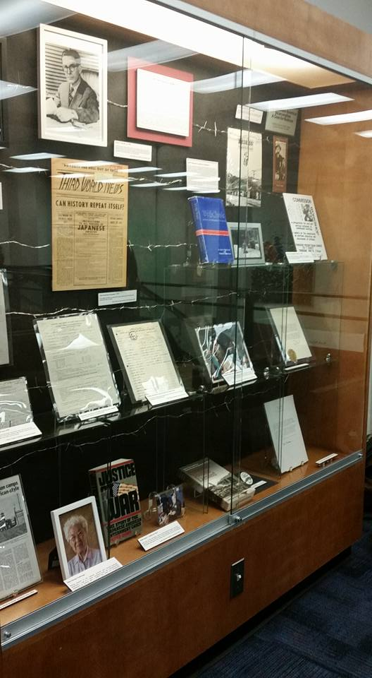 image of one display case in the exhibit Executive Order 9066